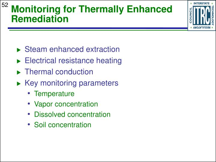 Monitoring for Thermally Enhanced Remediation