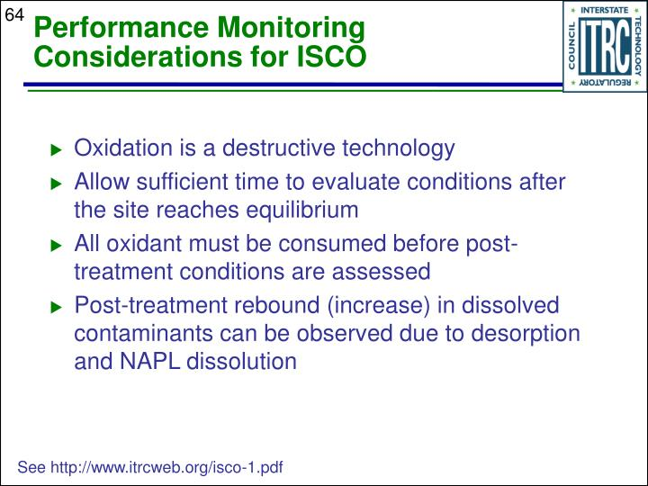 Performance Monitoring Considerations for ISCO