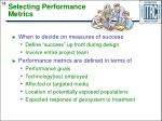 selecting performance metrics