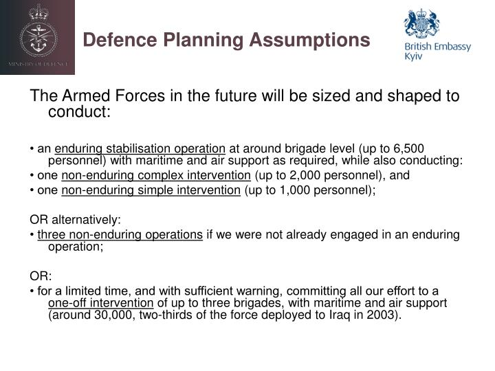Defence Planning Assumptions