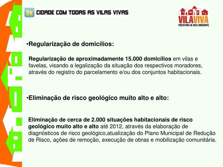 Regularização de domicílios: