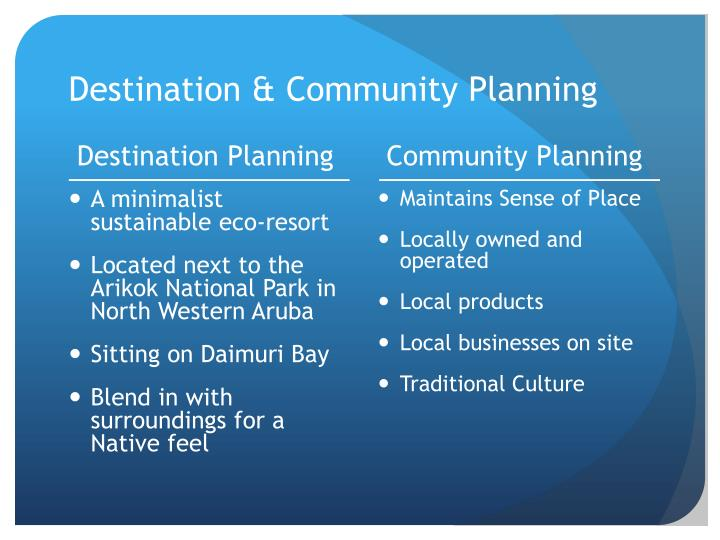 Destination & Community Planning
