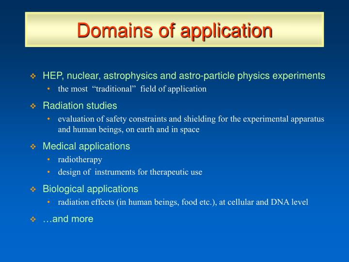 Domains of application
