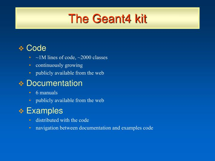 The Geant4 kit