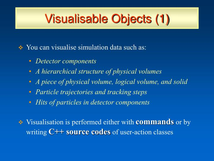 Visualisable Objects (1)