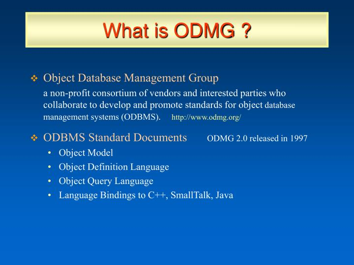 What is ODMG ?