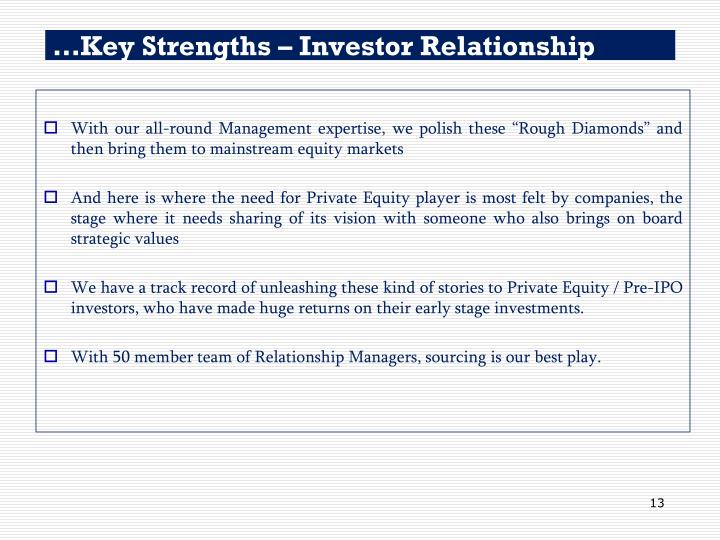 …Key Strengths – Investor Relationship