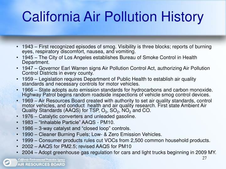 California Air Pollution History