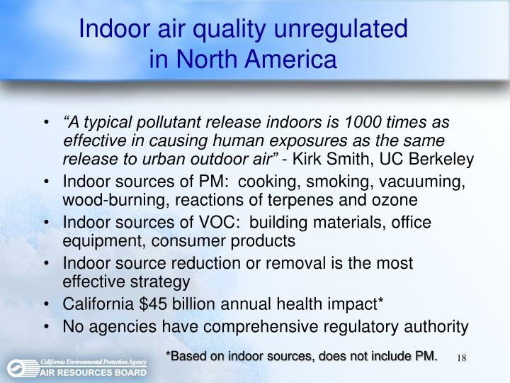 Indoor air quality unregulated in North America