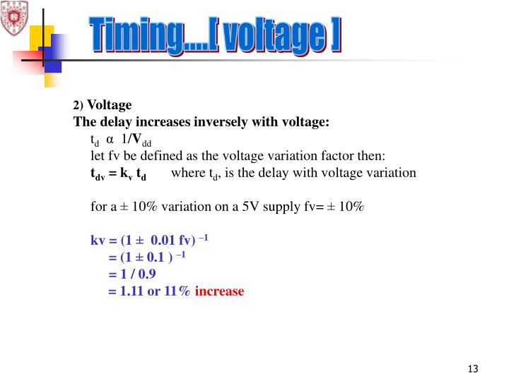 Timing....[ voltage ]