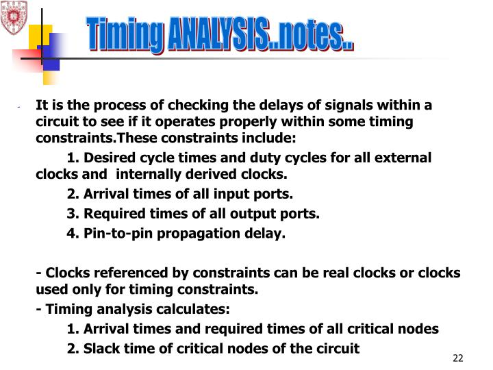Timing ANALYSIS..notes..