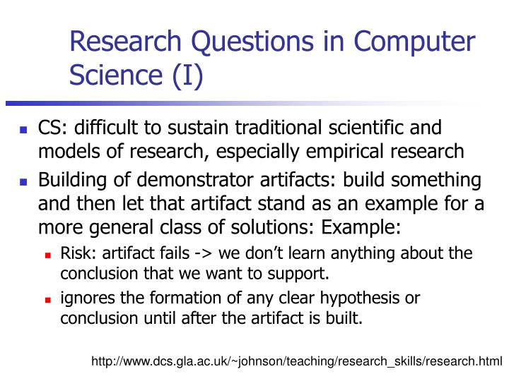 Research Questions in Computer Science (I)