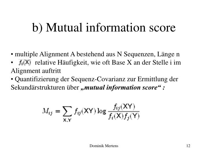 b) Mutual information score