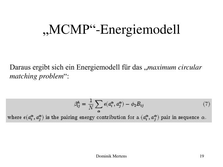 """MCMP""-Energiemodell"