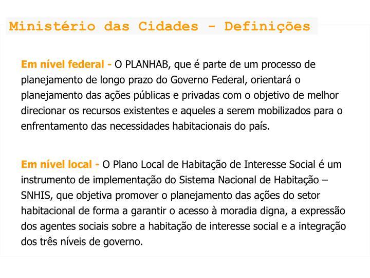 Ministério das Cidades - Definições