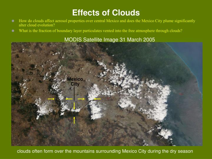 How do clouds affect aerosol properties over central Mexico and does the Mexico City plume significantly alter cloud evolution?