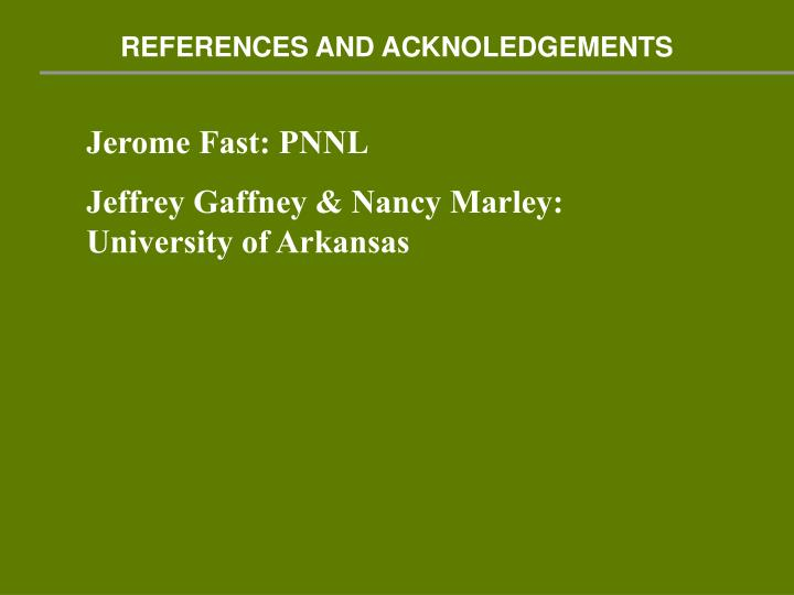 REFERENCES AND ACKNOLEDGEMENTS