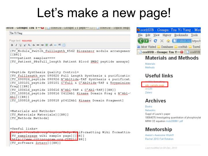Let's make a new page!