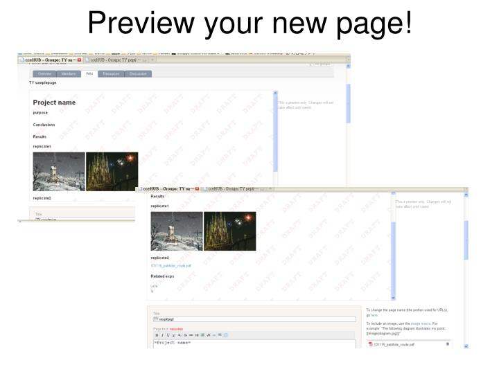 Preview your new page!