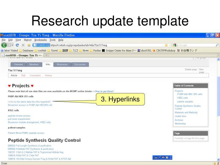 Research update template