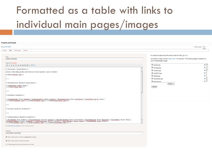 Formatted as a table with links to individual main pages/images