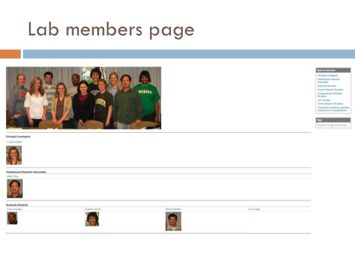 Lab members page