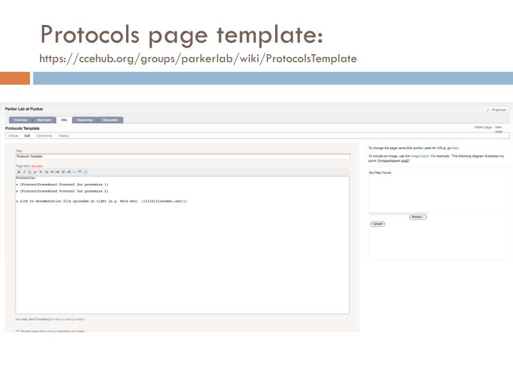 Protocols page template: