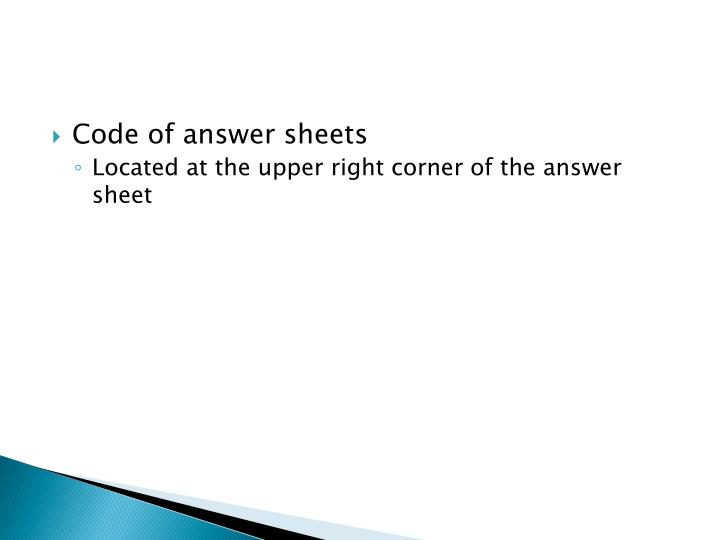 Code of answer sheets