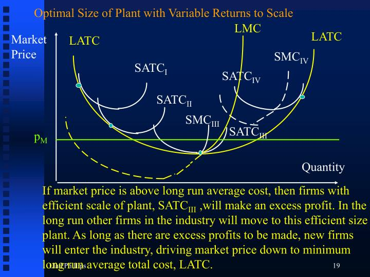 Optimal Size of Plant with Variable Returns to Scale