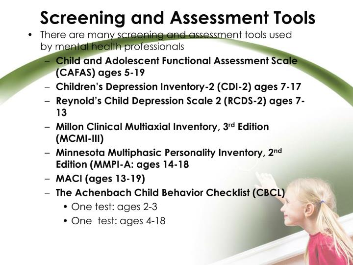 Screening and Assessment Tools