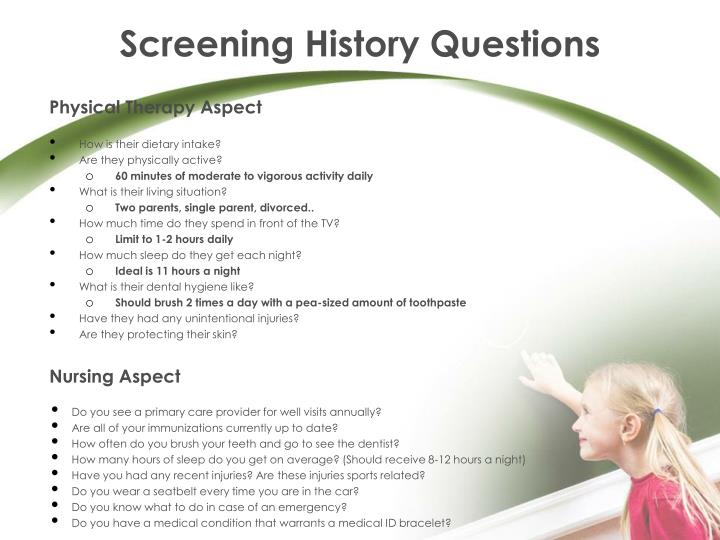 Screening History Questions