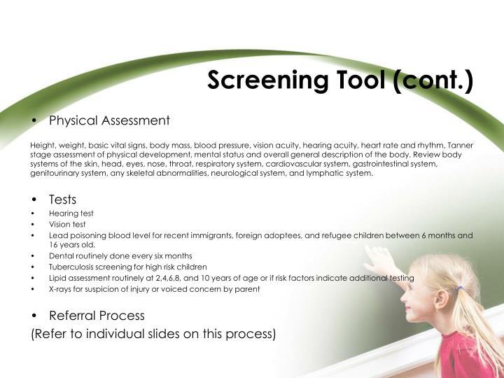 Screening Tool (cont.)