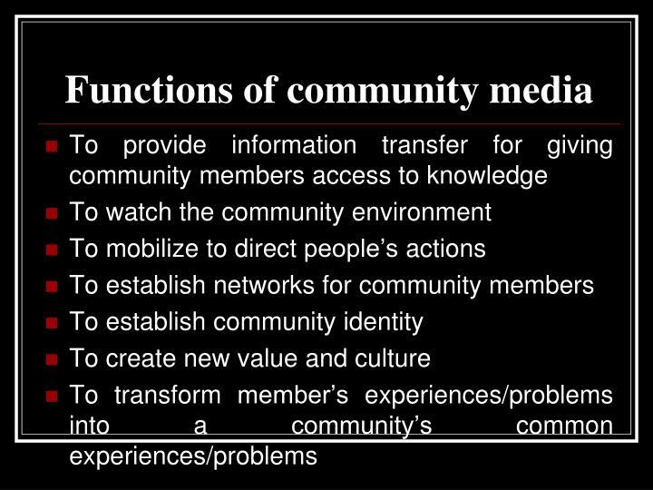 Functions of community media