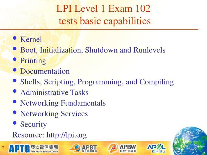 LPI Level 1 Exam 102