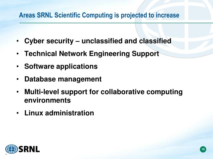Areas SRNL Scientific Computing is projected to increase