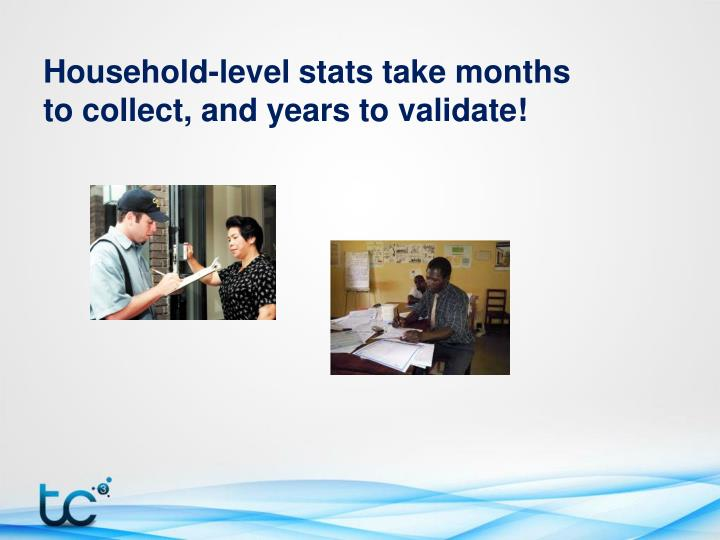 Household-level stats take months to collect, and years to validate!