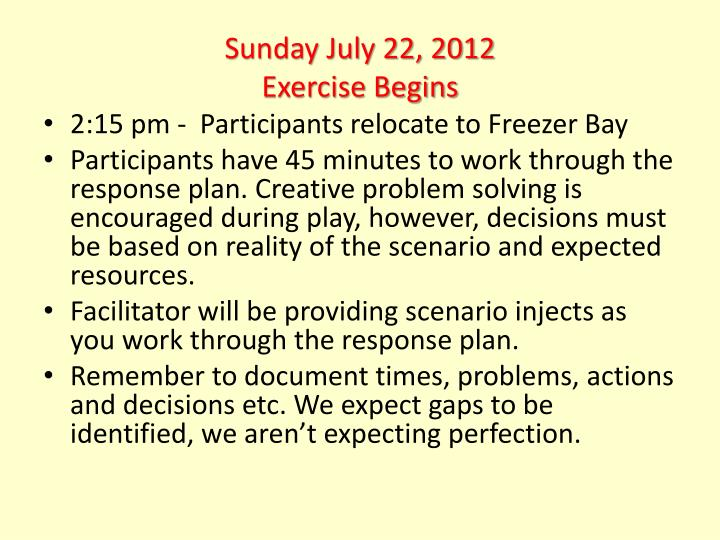 Sunday July 22, 2012