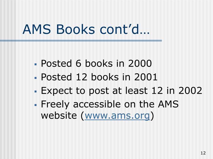 AMS Books cont'd…