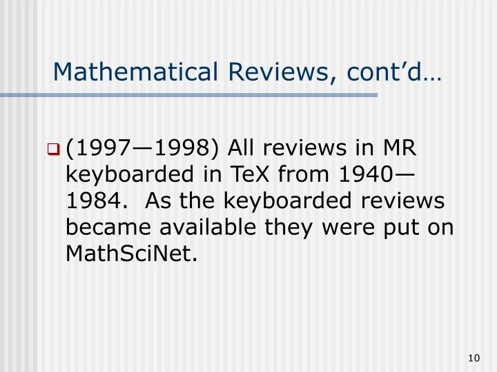 Mathematical Reviews, cont'd…