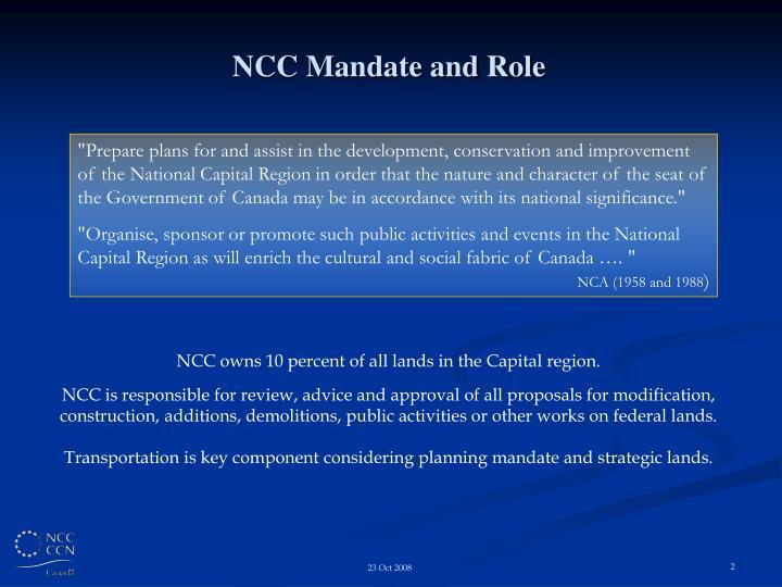 NCC Mandate and Role