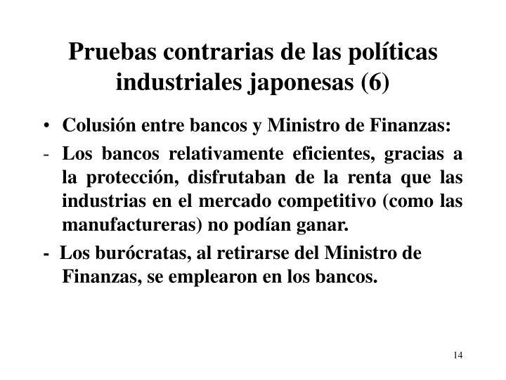 Pruebas contrarias de las políticas industriales japonesas