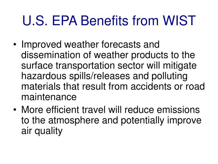 U.S. EPA Benefits from WIST