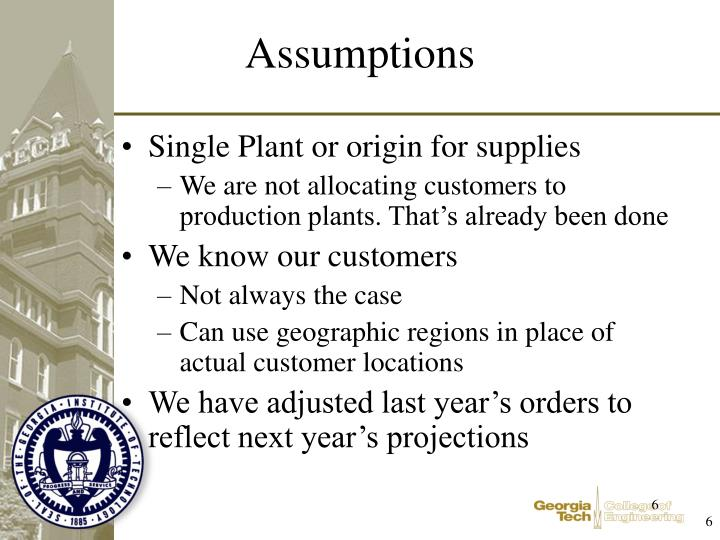 Single Plant or origin for supplies