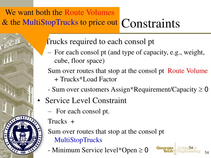 Trucks required to each consol pt