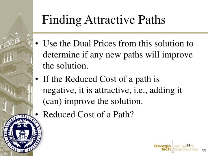 Use the Dual Prices from this solution to determine if any new paths will improve the solution.