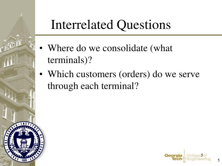 Where do we consolidate (what terminals)?