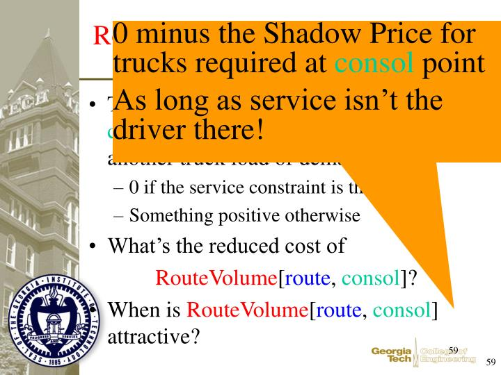 The Shadow Price for trucks required at