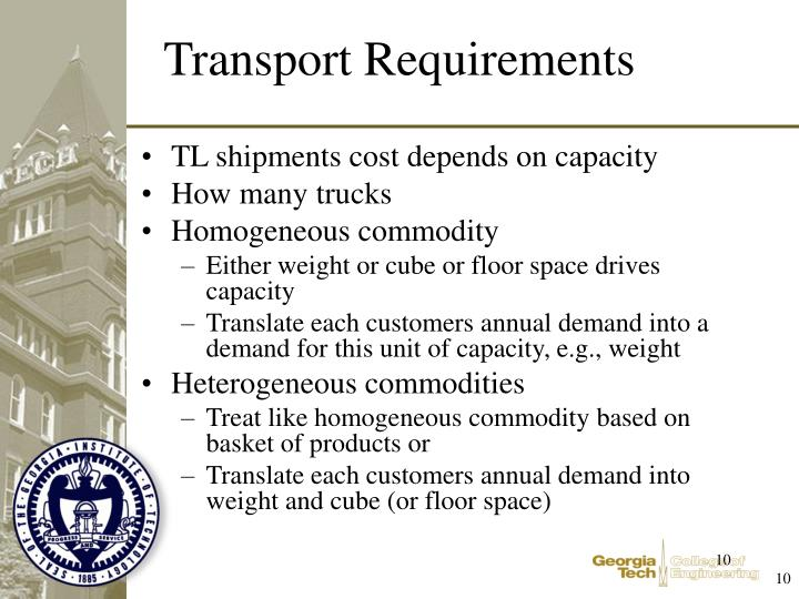 TL shipments cost depends on capacity