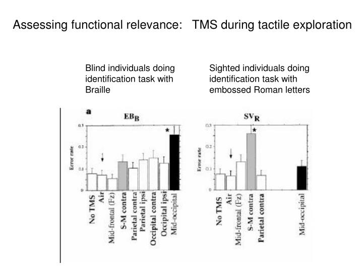 Assessing functional relevance:   TMS during tactile exploration