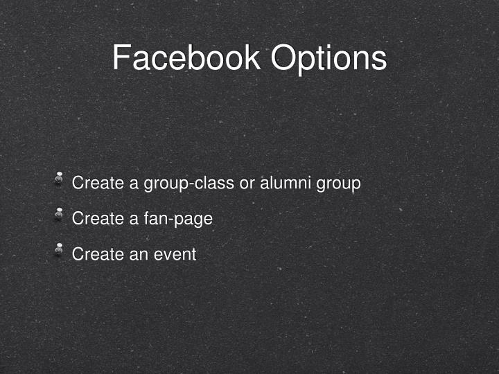 Facebook options